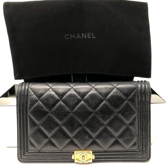8918f387bc CHANEL Lambskin Gold Tone Metal Boy Chanel Wallet